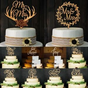 4aa4d15989bd9 Details about Rustic Wedding Party Birthday Wooden Letter Cake Topper  Anniversary Decoration