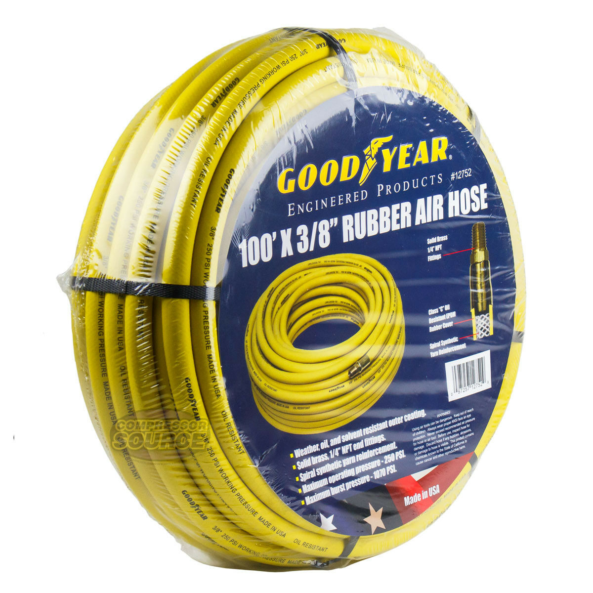 Goodyear Rubber Air Hose 100' ft. x 3 8  in. 250 PSI Air Compressor Hose 12752