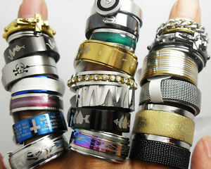 wholesale-200-MIX-stainless-steel-men-039-s-women-039-s-rings-job-lots-fashion-jewelry