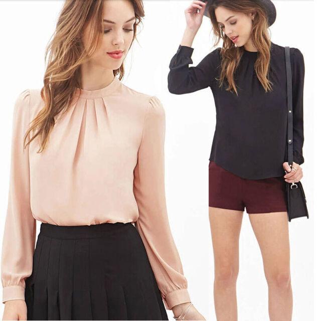 Women Summer Fold Loose Casual Chiffon Long Sleeve Shirt Tops Blouse Elegant