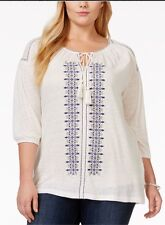 Womens Plus Lucky BRAND Embroidered Knit Peasant Top Blouse 3x 22 24