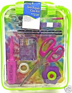 Sewing-Repair-Mend-Kit-Scissor-Needle-Thread-Buttons-Pins-Lime-Case-Dritz-New