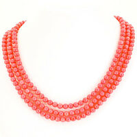 3 Strands Angelskin Coral Bead With Sterling Silver Clasp Necklace