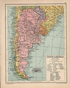 Carte Amerique Latine Uruguay.1934 Carte Sud Amerique Du Sud Iles Malouines Argentine Chili
