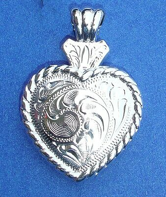 Western Cowgirl Jewelry Bright Silver Rope Heart Concho Pendant Kit