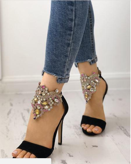 Sandale stiletto tronchetto nero gioiello  12 cm  simil pelle eleganti 1308