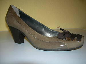 JANET-amp-JANET-Damen-Schuhe-Pumps-Lack-Leder-Khaki-Italy-Gr-37-Neuw