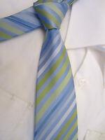GREENWOODS ESSENTIALS BLUE GREEN STRIPED 3.5 INCH WIDE POLYESTER NECK TIE