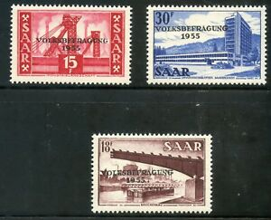 Learned Stamp Sarre N° 344/346** Puits De Mine French Colonies Saar