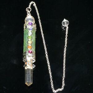 Natural 7 Chakra Green Aventurine Wand Rod Healing Crystal Dowsing Pendulum