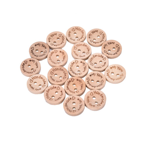 100X Handmade With Love Buttons Scrapbooking Sewing Wood Button 25mm 20mm 15mmYH