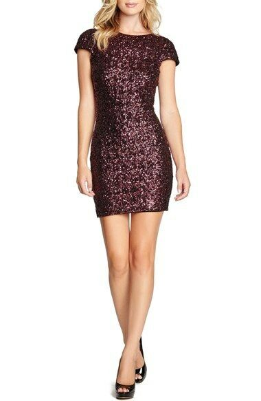 DRESS THE POPULATION TABITHA SEQUIN BODY-CON WINE COLOR DRESS sz XS