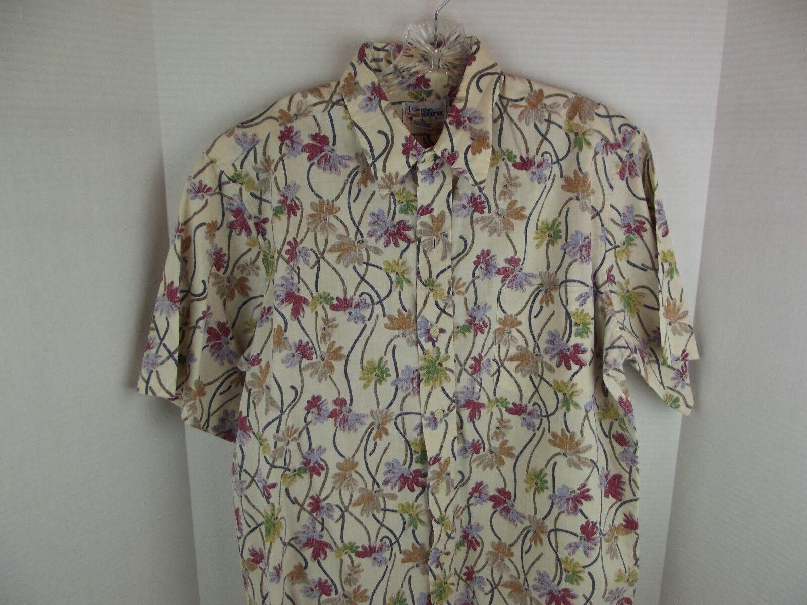 Reyn Spooner VTG Reverse Print Floral Hawaiian Camp Shirt Men's Sz. Large