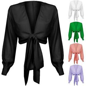 New-Plunge-V-Neck-Wrap-Multi-Tie-Waist-Long-Sleeve-Blouse-Shirt-Crop-Top