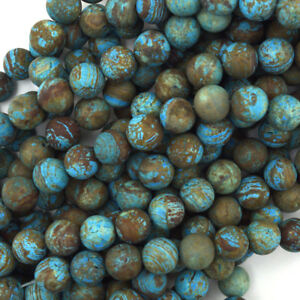 Matte-Brown-Blue-Turquoise-Round-Beads-15-5-034-Strand-Frost-4mm-6mm-8mm-10mm-12mm