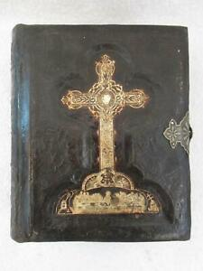 Restored-Antique-HOLY-BIBLE-Tooled-Leather-Catholic-Douay-amp-Rheims-1883