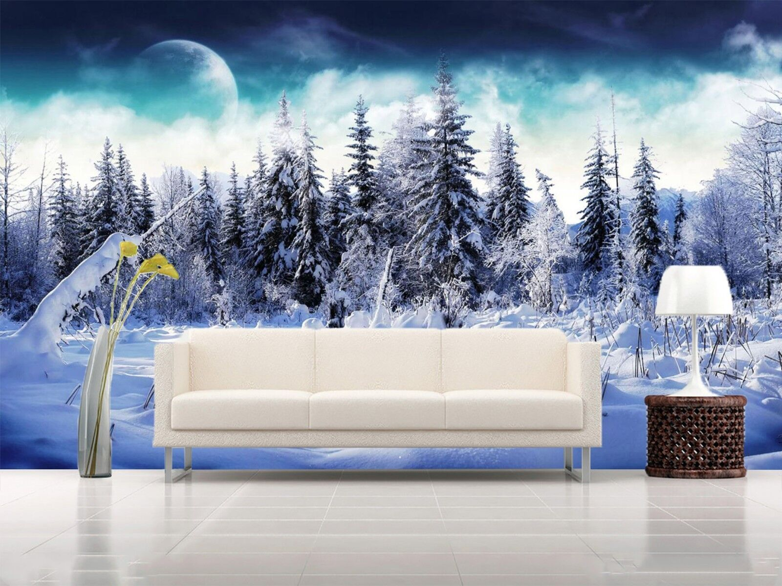 3D Snowing forest Wall Paper Print Decal Wall Deco Indoor wall Mural