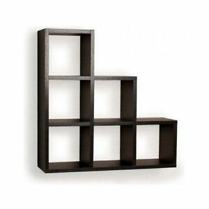 Floating Wall Shelf Display Black Wood Shelves Corner Storage Home Decor New Ebay