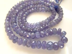 A-Tanzanite-4-5-6-7mm-Faceted-Rondelle-Gemstone-Bead-Select-a-Size-2-034-16-034-Str