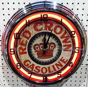 "17"" RED CROWN Gasoline Sign Neon Clock Gas Station Lube"