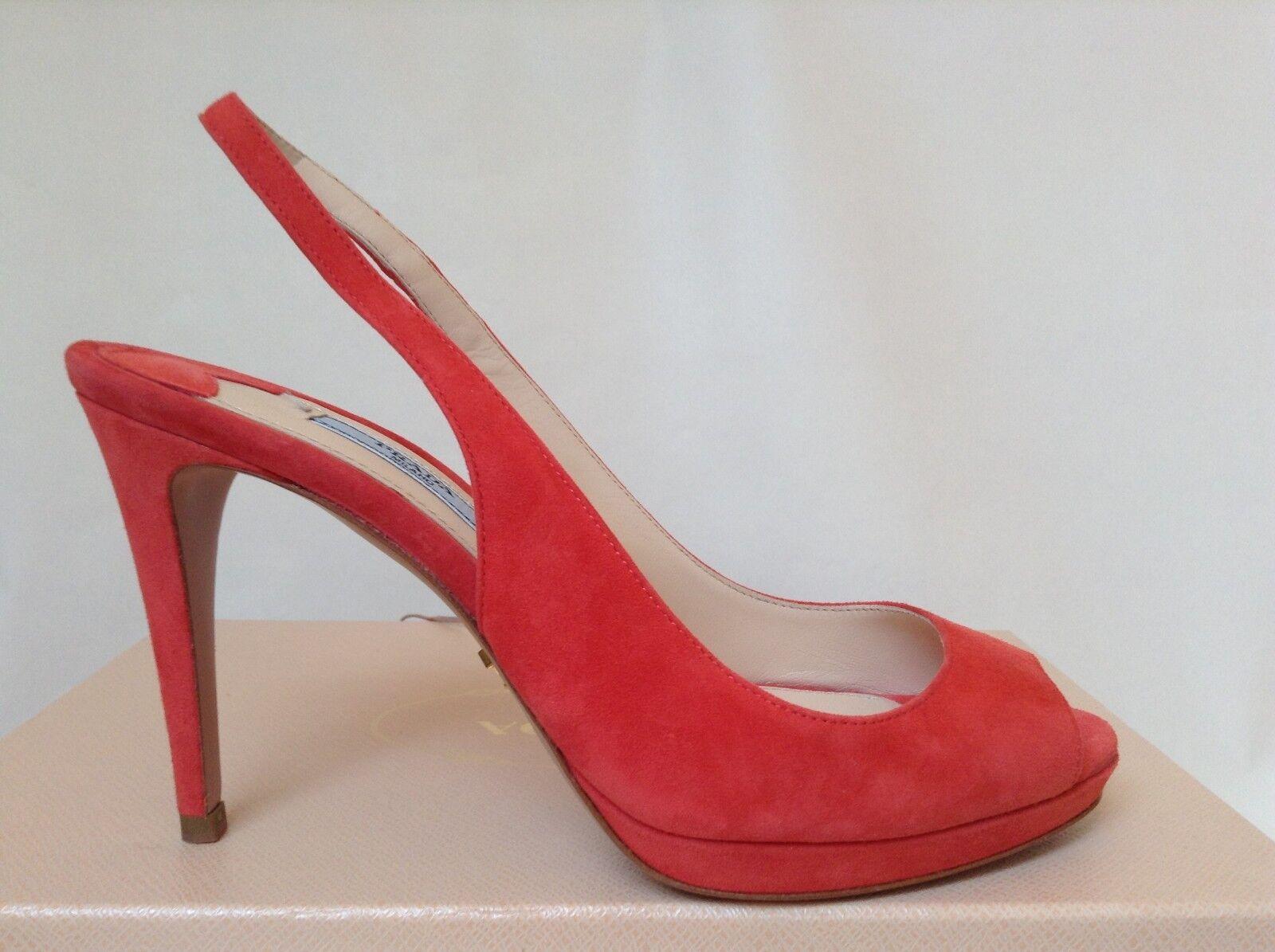 NIB PRADA Coral Nude Suede Pointed-Toe Slingback High Heel Shoes