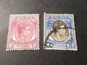 MALAYA, PENANG, LOT 2 timbres oblitérés, VF used