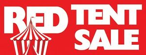 3ft x 8ft Red Tent Sale (red) Vinyl Banner -Alt to Banner Flag 3'x8' (0060)