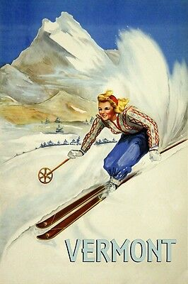 Ski Vermont Vintage Poster Reproduction of Lady Skiing Sport Winter FREE S/H