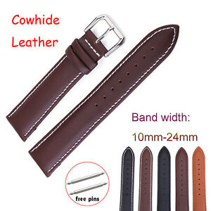 Stitching Cowhide Leather Band Watch Strap 22mm 10mm-24mmStainless Steel Buckle