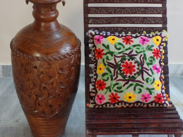 Suzani Embroidered 24X24 Cushion Cover Ethnic Pillows Pom Pom Lace Shams Throw