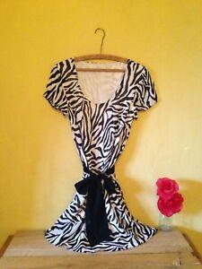 Size-14-16-vintage-50-039-s-look-black-white-stripe-animal-print-ribbon-short-dress