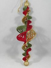 Red, Green and Gold Glittered Decorative Icicle Christmas Tree Ornament new