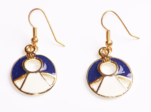 ZX47 TR NAUTICAL STYLE NAVY /& WHITE PAINTED GOLD METAL CUT OUT HOOK EARRINGS