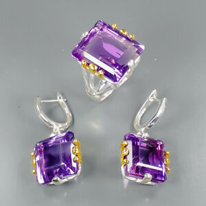 Vintage40ct-Natural-Amethyst-925-Sterling-Silver-Ring-Size-8-5-R101380