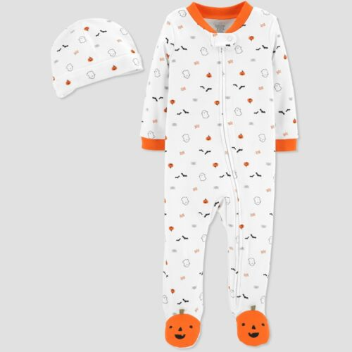 JUST ONE YOU BY CARTER/'S Baby Halloween Print Sleeper /& Hat Set