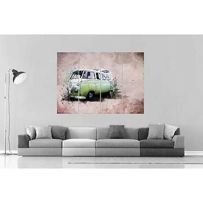 VAN VOLKSWAGEN GREEN Wall Poster Grand format A0 Large Print