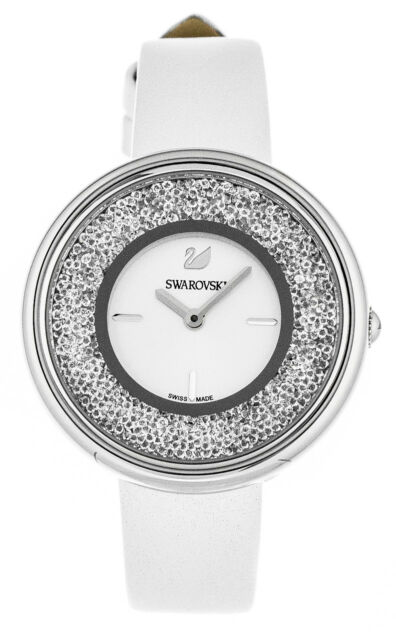 60bb28666499e Swarovski Crystalline Pure 850 Clear Crystals White Leather Straps Watch  5275046