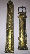 Michele 16MM Python Leather Watch Strap Green/yellow