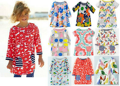 NEW MINI BODEN GIRLS TUNIC DRESS TOP COTTON JERSEY STAR FLORAL STRIPED AGE 2-12
