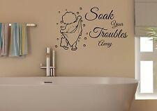 Soak Your Troubles Away Cute Bathroom Vinyl Wall Art Stickerl Decal DIY Decor