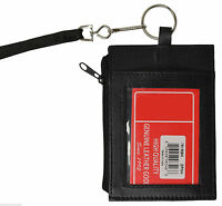 Black Leather THIN ID Credit CARD Holder Neck Zip Money Pouch Wallet Key Ring