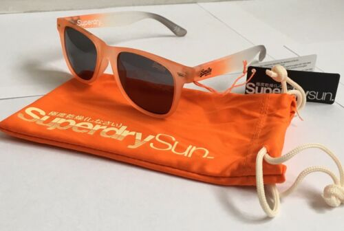 RRP £49 SUPERDRY SDS SUPERFARER 150 ORANGE WHITE UNISEX SUNGLASSES WITH POUCH