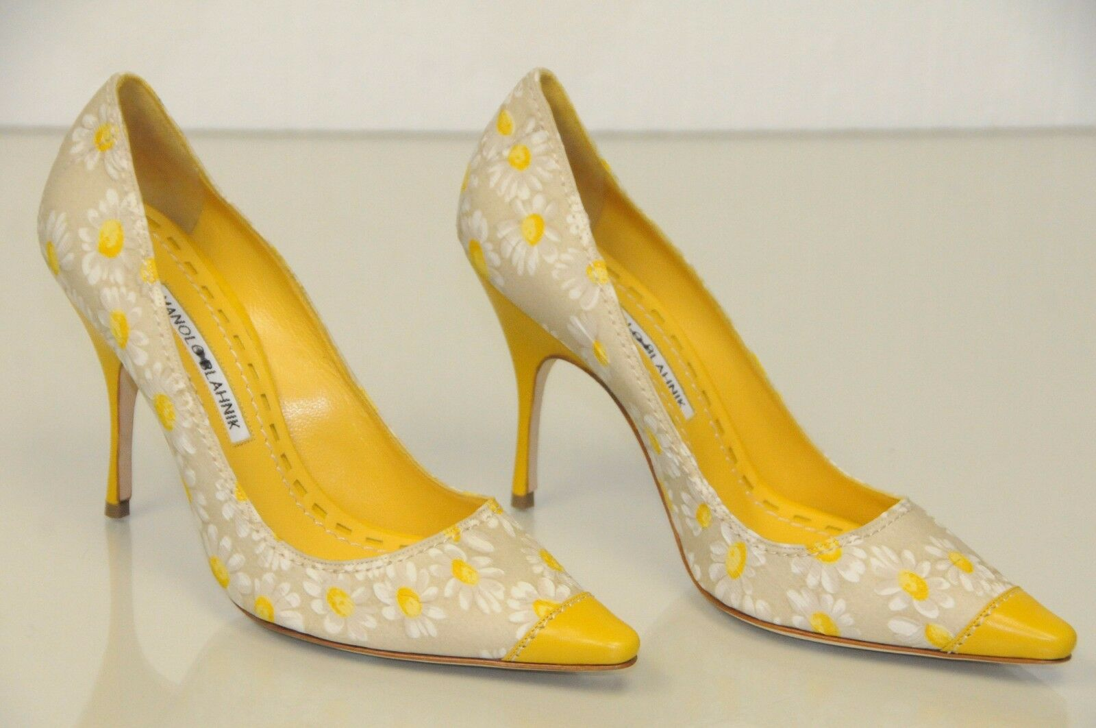 NEW MANOLO BLAHNIK YELLOW LEATHER FLORAL temeneus 105 shoes BB Heel Pumps