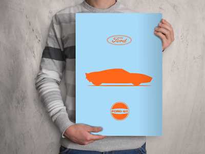 Classic Car Silhouette FORD GT40 POSTER A4 A3 A2 Size Art Print