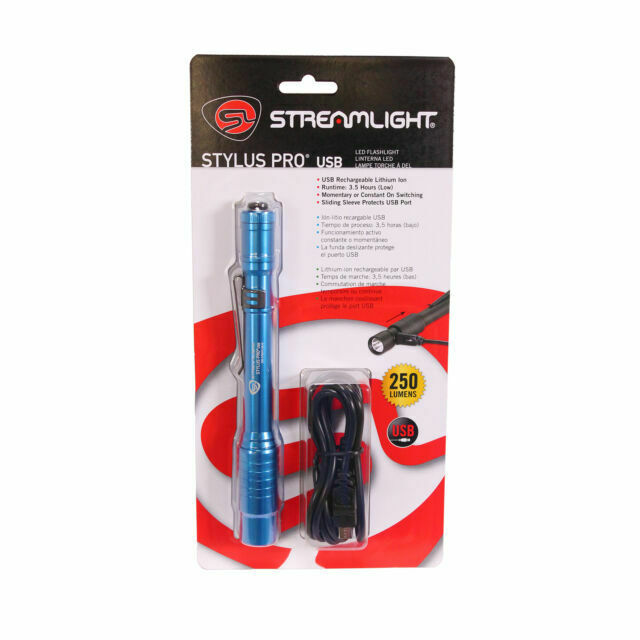 Blue for sale online Streamlight Stylus Pro Flashlight with USB Cord