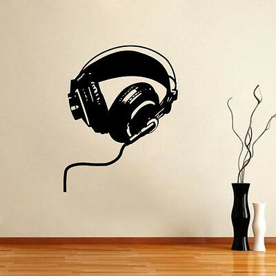 Wall Decor Vinyl Decal Sticker Mural Headphones Music Design