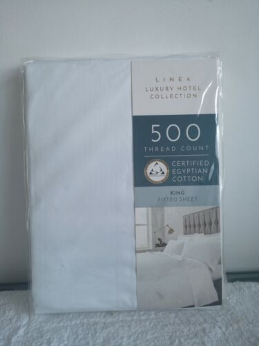 LINEA KING FITTED SHEET 500 THREAD COUNT EGIPTIAN COTTON HOTEL LUXURY