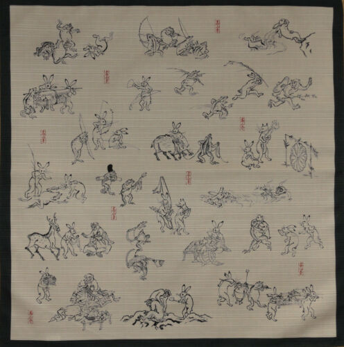 Furoshiki Wrapping Cloth Japanese Fabric Green /'Playful Animals/' Cotton 50cm