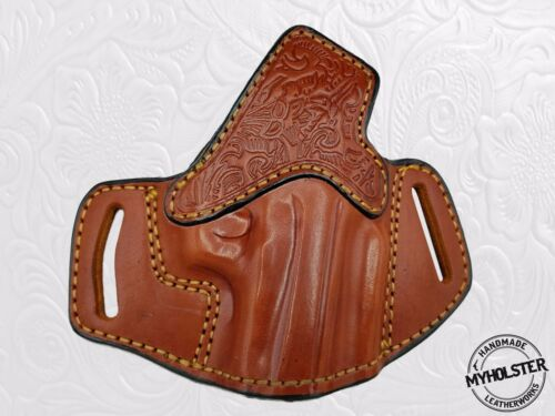 Hand Tooled Brown Leather OpenTop OWB Right Hand Belt Holster For Glock 17//22//31
