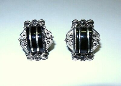 Vintage Taxco Mexico 925 Silver and Onyx Round Clip On Earrings Scroll Edge Sterling